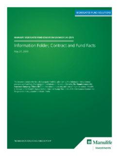 Manulife Segregated Fund Education Savings Plan Information Folder, Contract and Fund Facts