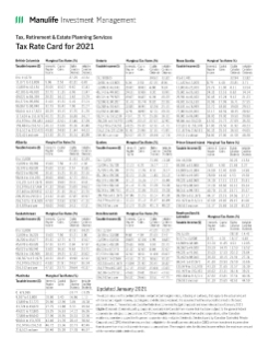 2021 Tax Rate Card
