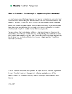 Global Macro Outlook Q2 2020 transcript - Have policymakers done enough?