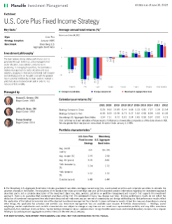 U.S. Core Plus Fixed Income Fact Sheet