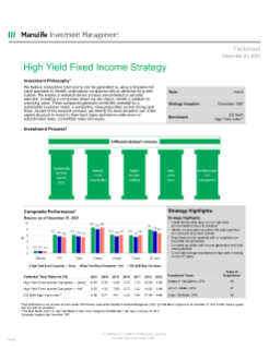 High Yield Fixed Income Fact Sheet