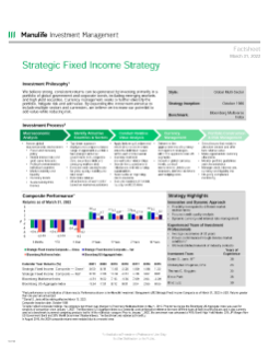 Strategic Fixed Income Fact Sheet